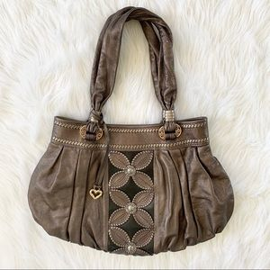 Brighton Pewter Leather Floral Shoulder HandBag